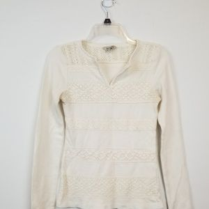 Lucky brand cream crochet thermal top size xs